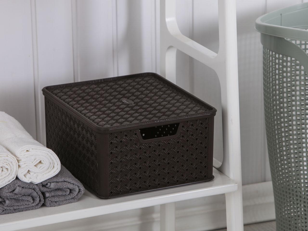 Koszyk / pojemnik do przechowywania duży z pokrywą Tontarelli Arianna 33,2x29x16,5 cm brązowy