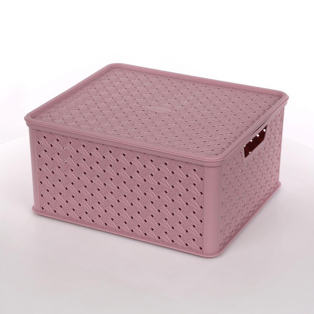 Koszyk / pojemnik do przechowywania duży z pokrywą Tontarelli Arianna 33,2x29x16,5 cm liliowy