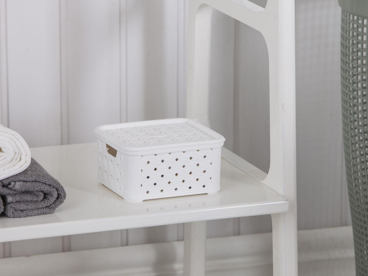 Koszyk mały z pokrywą Arianna biały