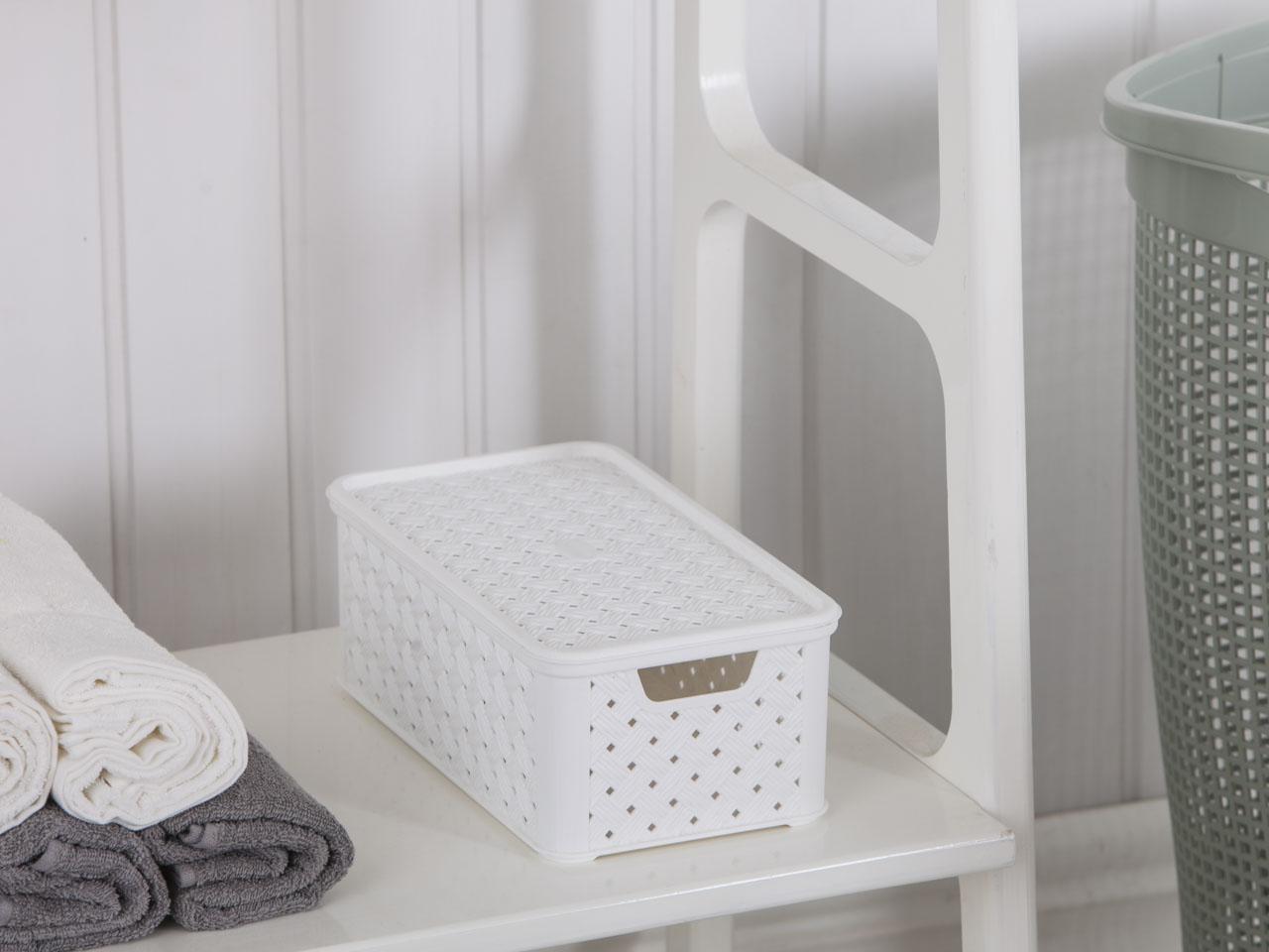 Koszyk średni z pokrywą Arianna biały