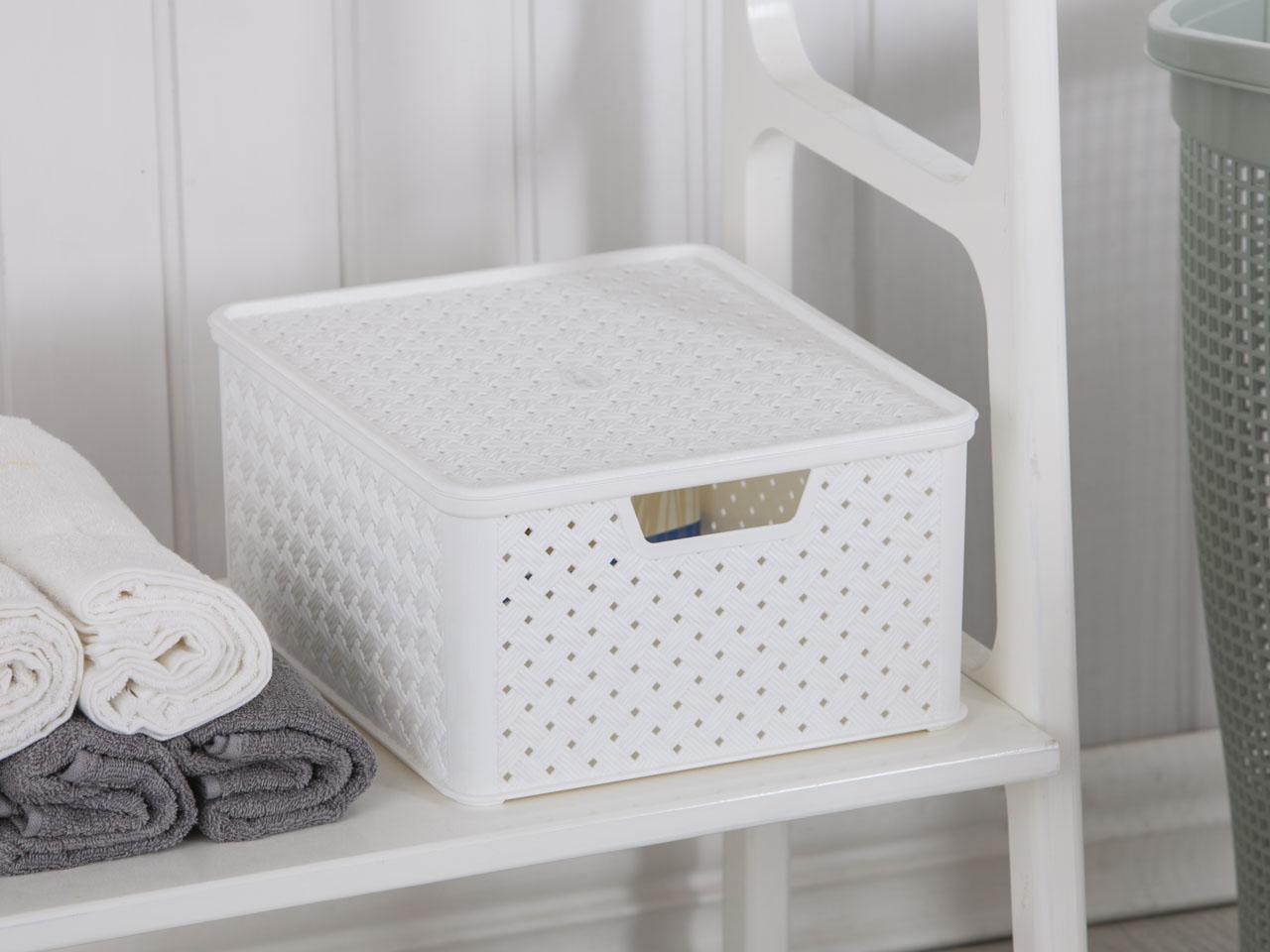 Koszyk / pojemnik do przechowywania duży z pokrywą Tontarelli Arianna 33,2x29x16,5 cm biały