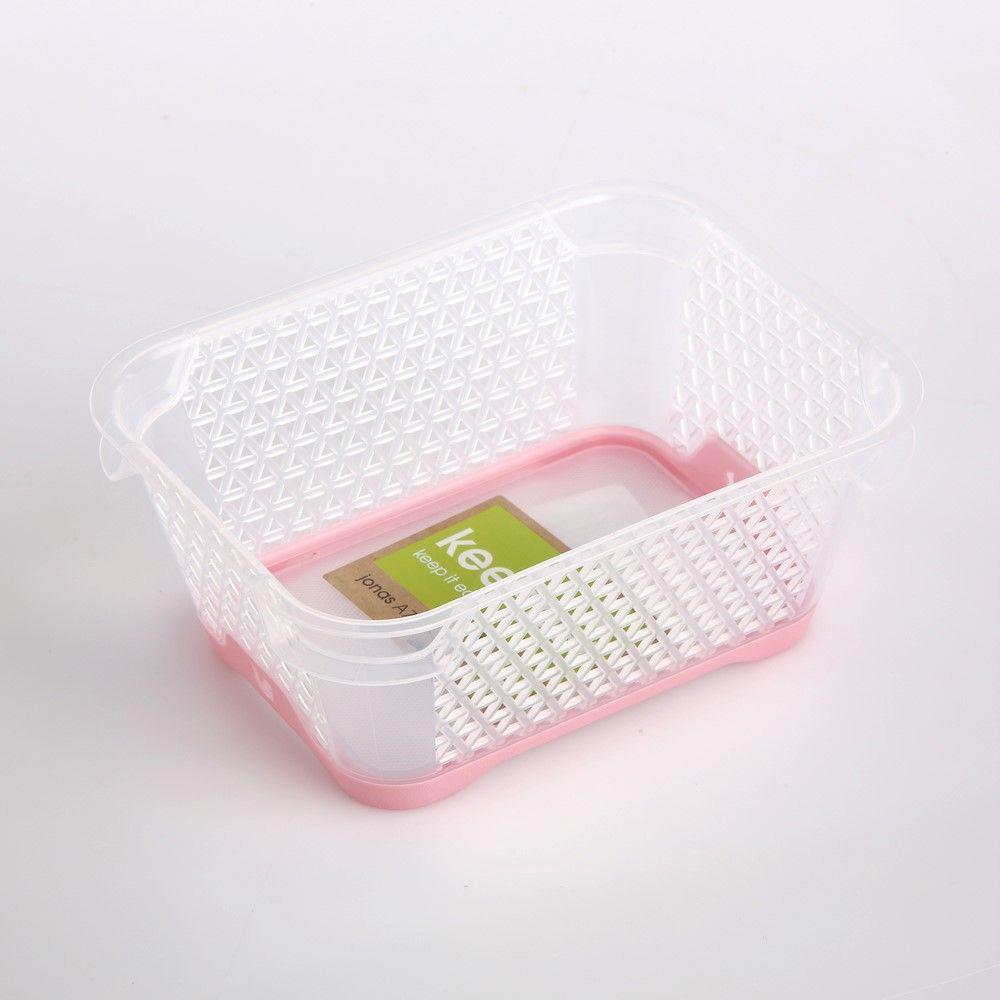 Koszyk / pojemnik do przechowywania plastikowy Jonas różowy antypoślizgowy 16x12 cm