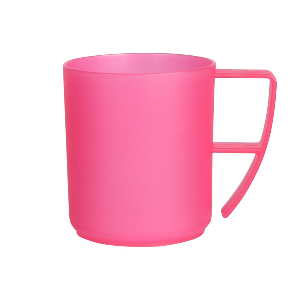 Duży kubek plastikowy z uchem Sagad Weekend 420 ml różowy