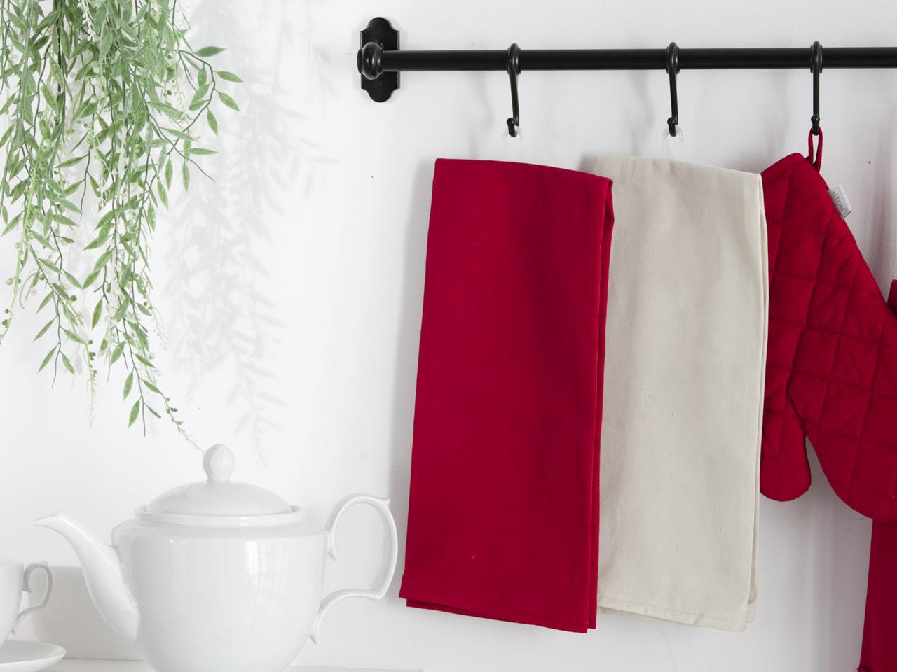 Ręcznik / Ściereczka kuchenna 100% bawełna Altom Design kolekcja Monokolor czerwona