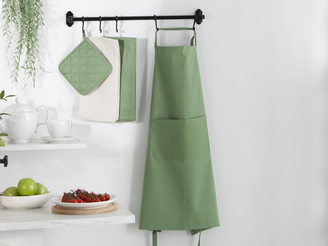Fartuch kuchenny 100% bawełna Altom Design kolekcja Monokolor zielony 70x80 cm