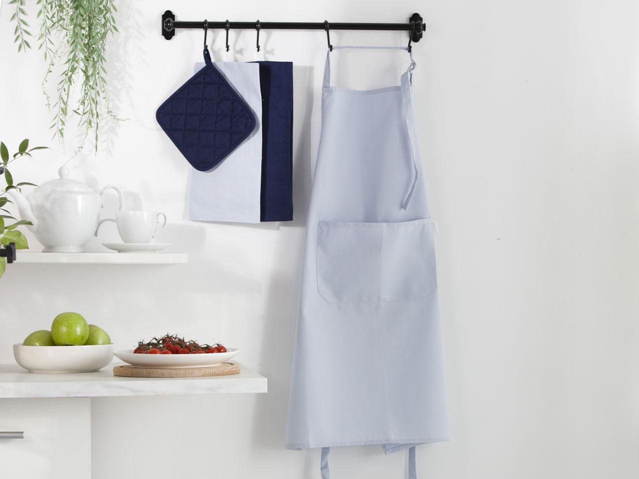 Fartuch kuchenny 100% bawełna Altom Design kolekcja Monokolor błękitny 70x80 cm