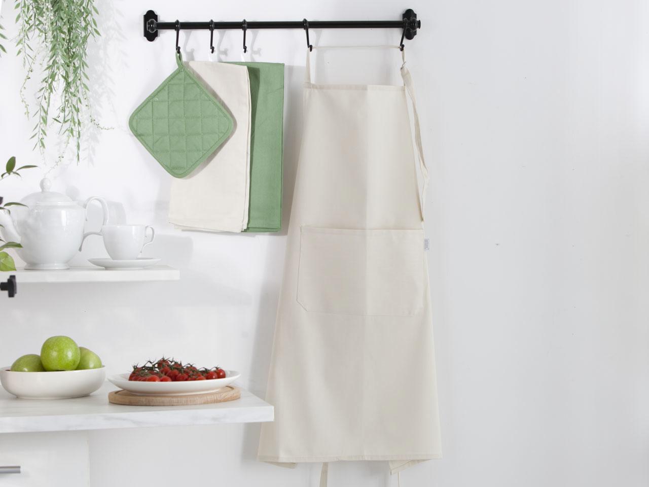 Fartuch kuchenny 100% bawełna Altom Design kolekcja Monokolor beżowy 70x80 cm