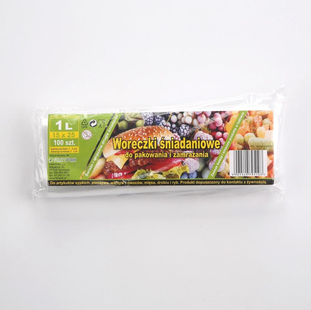 Woreczki śniadaniowe do pakowania i zamrażania Fartpak 15x25 cm / 1 l (100 sztuk)