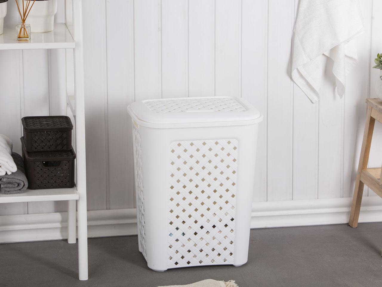Kosz na pranie / brudownik Arianna 50,7 l biały