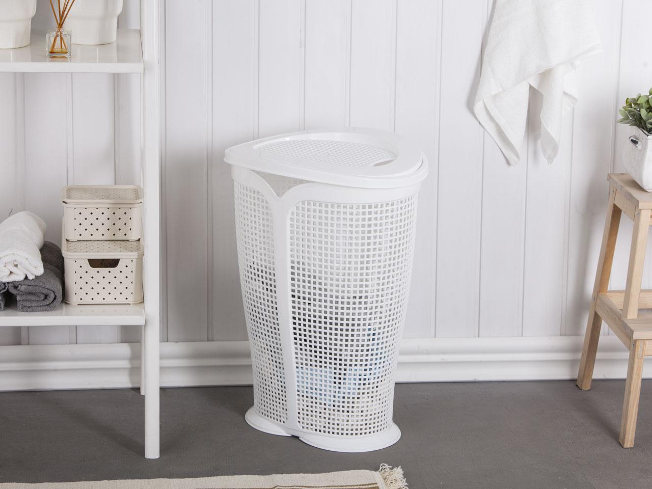 Kosz na pranie / brudownik Tontarelli Ingrid biały 45l