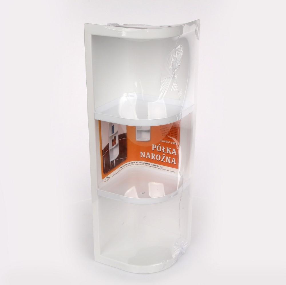 Półka łazienkowa narożna / narożnikowa biała