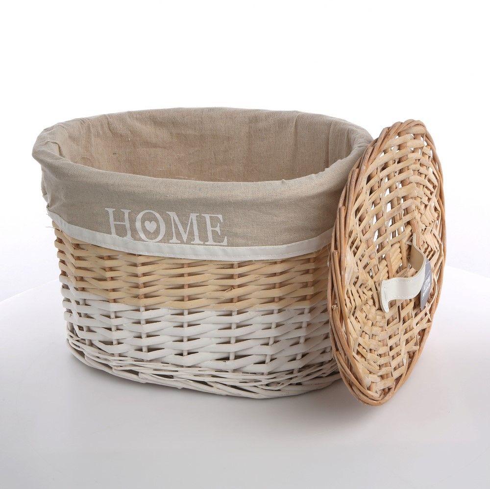 Kosz na bieliznę / do przechowywania wiklinowy z pokrywą owalny Altom Design Home 30x20x18 cm