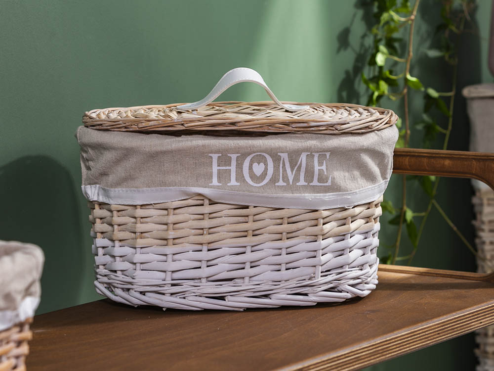 Oval basket with cover HOME 30x20x18 cm