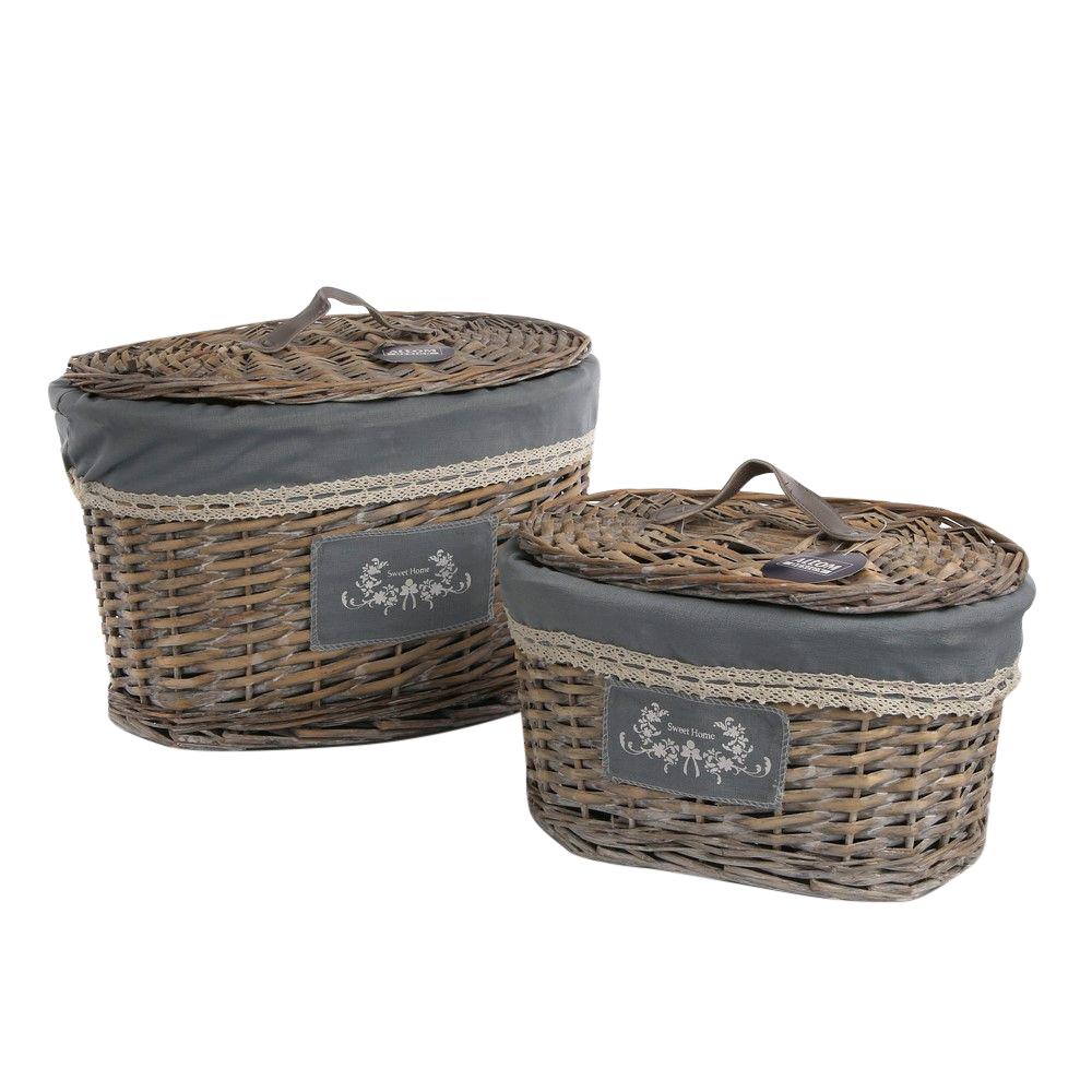 Komplet koszyków wiklinowych z pokrywą owalne Altom Design Sweet Home (2 sztuki)