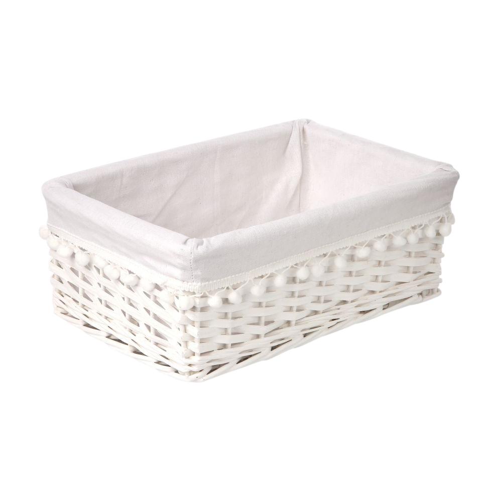 Koszyk do przechowywania wiklinowy materiałowa wyściółka z pomponami Altom Design biały 36x27x16 cm