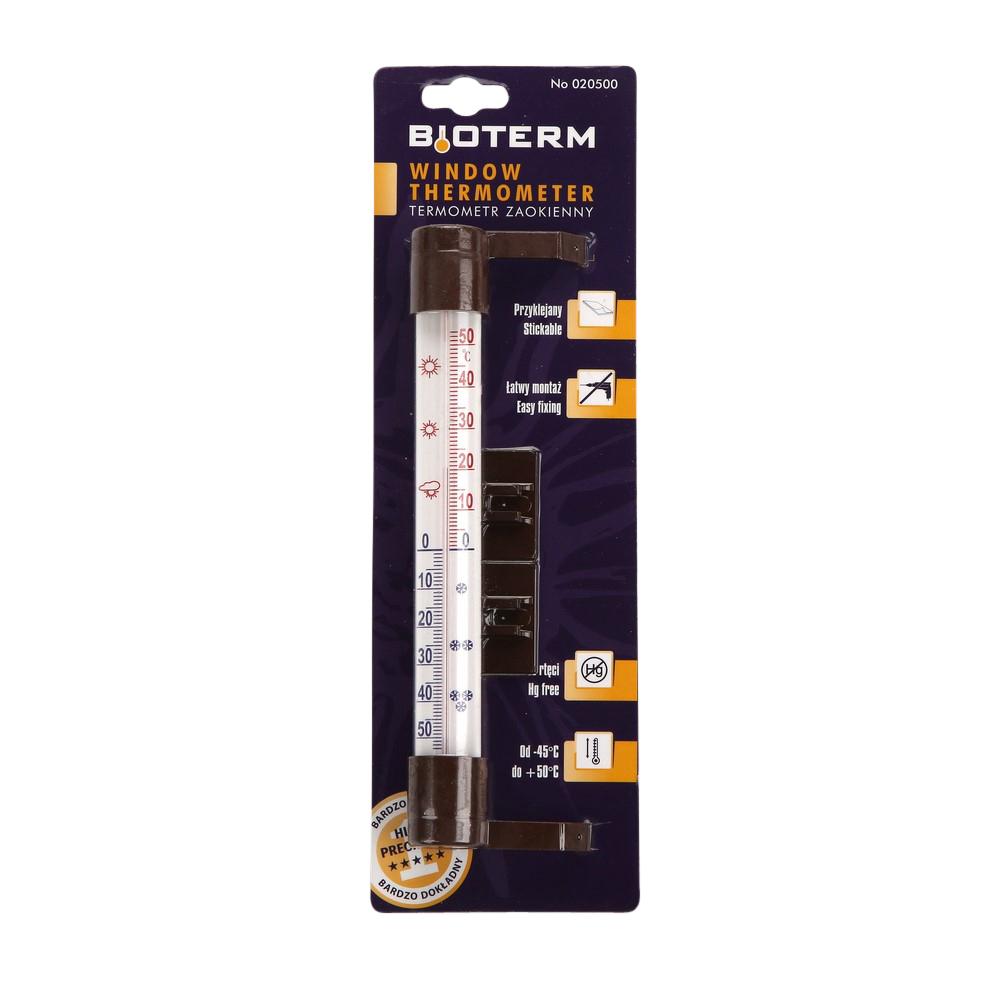 Termometr zaokienny przyklejany / przykręcany Biowin 23x2,6 cm