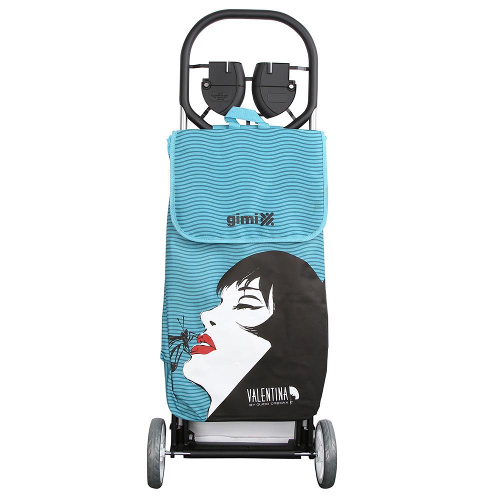 Wózek na zakupy / torba na kółkach Gimi Valentina Sagno Blu Wave 30 kg / 50 l
