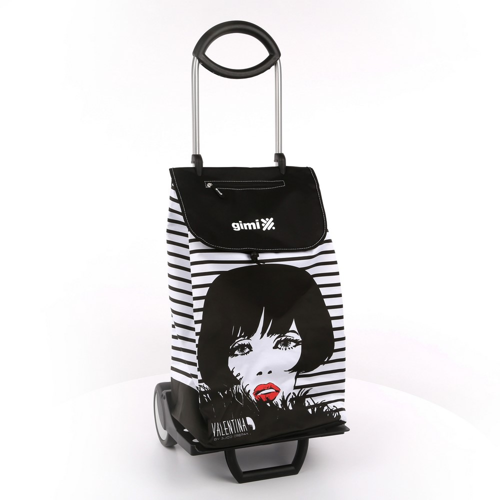 Wózek na zakupy / torba na kółkach Gimi Valentina Senso paski biało-czarne 30 kg / 50 l