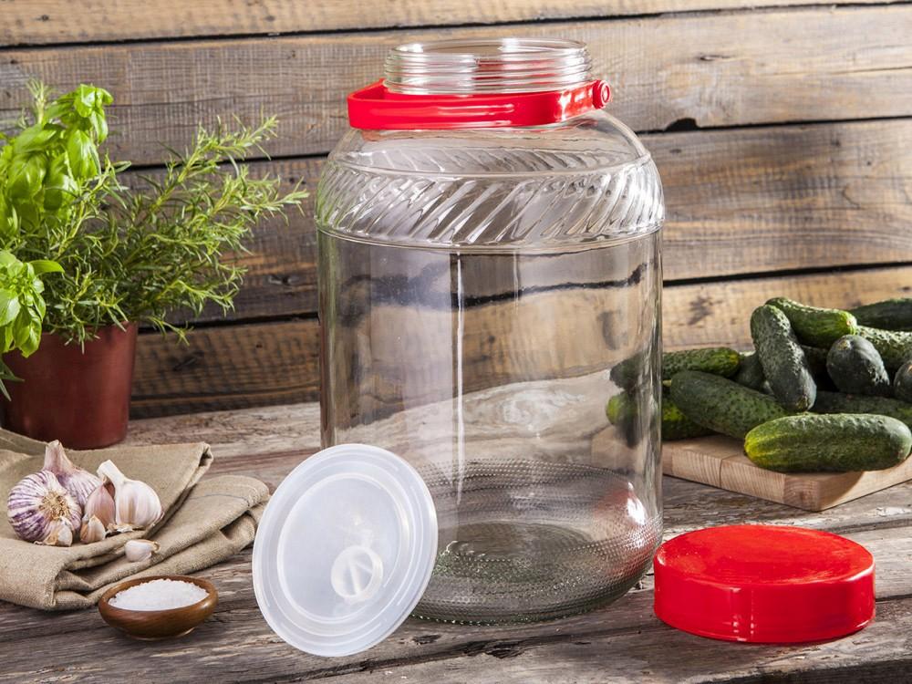 Słoik / Słój / Beczka do kiszenia / na zaprawy szklana z pokrywką plastikową Browin 12 l