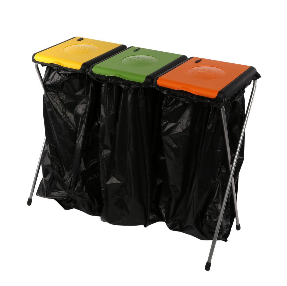 Plastikowy stojak na worki do segregacji śmieci kosz na śmieci 3 częściowy Nature Gimi