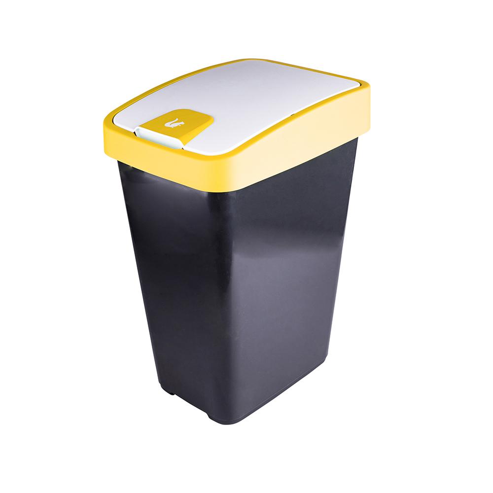 Kosz na śmieci z naciskaną pokrywą Keeeper żółty 25 l