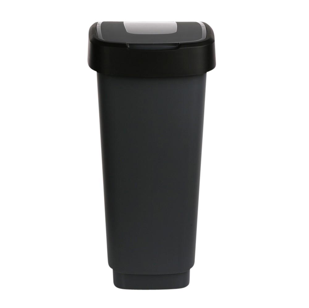 Kosz na śmieci z pokrywą obrotową Artgos Klip Szaro-Czarny 50 l