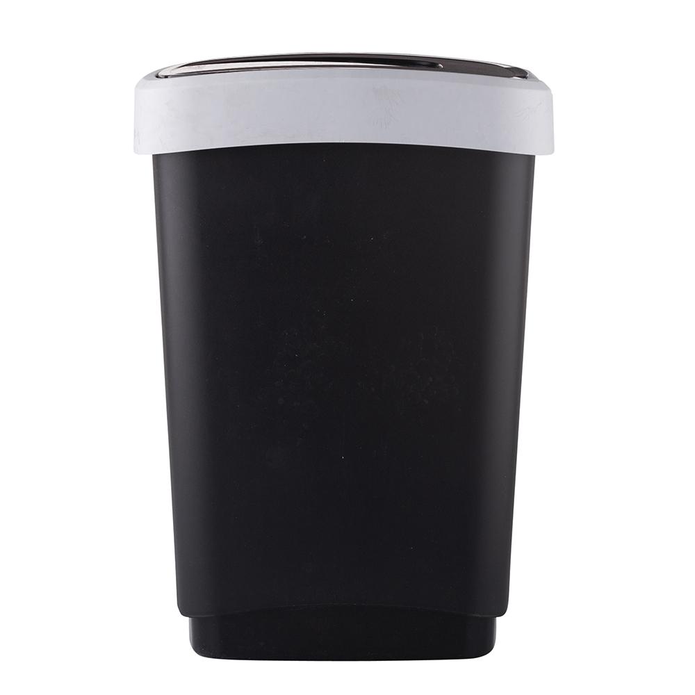 Kosz na śmieci z pokrywą obrotową Artgos Klip Czarno-Srebrny 25 l
