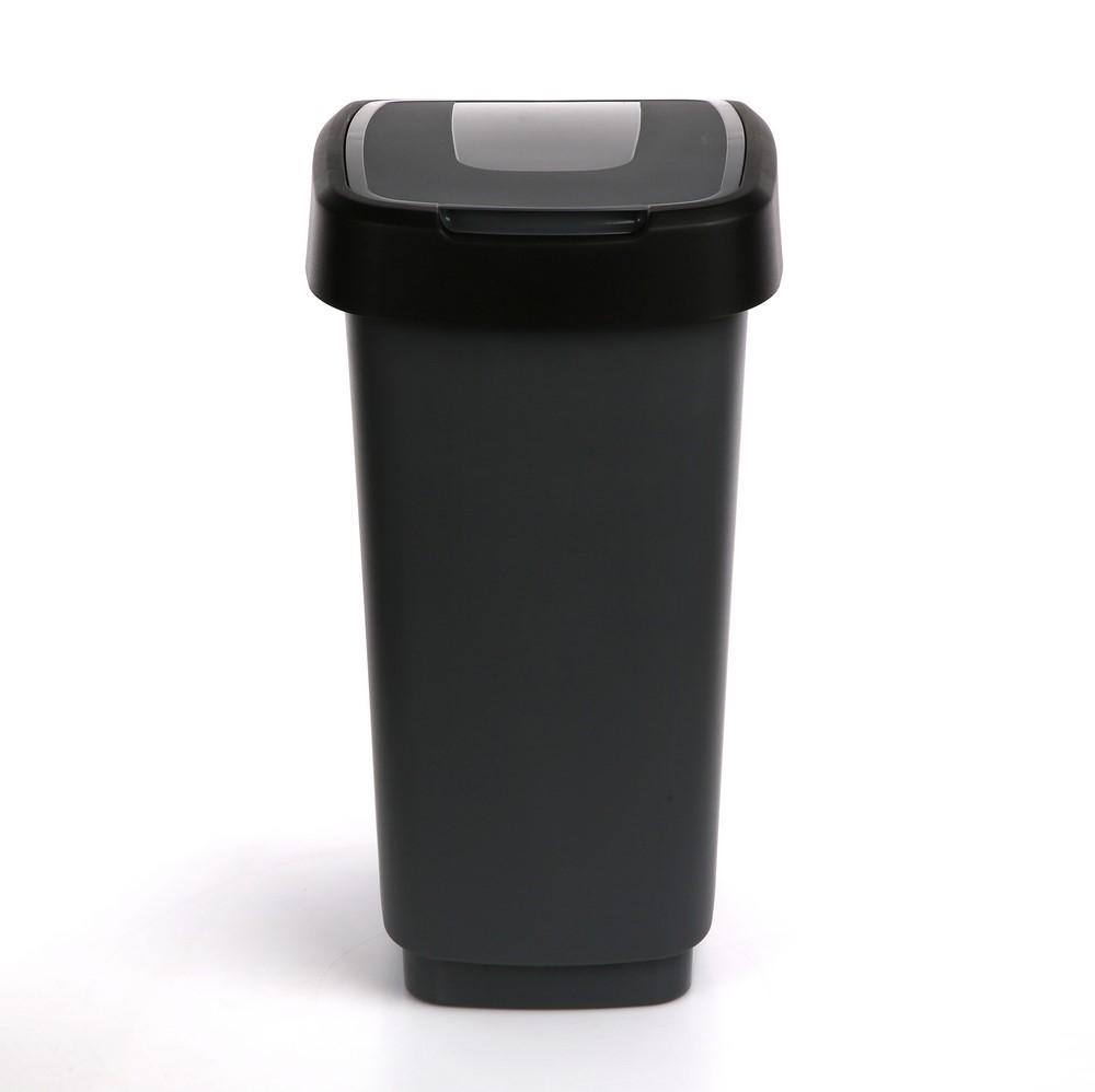 Kosz na śmieci z pokrywą obrotową Artgos Klip Szaro-Czarny 25 l