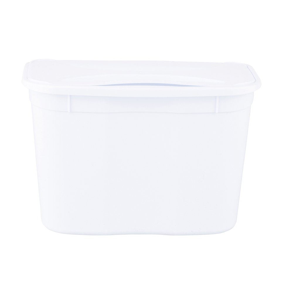 Hanging bucket with lid- white