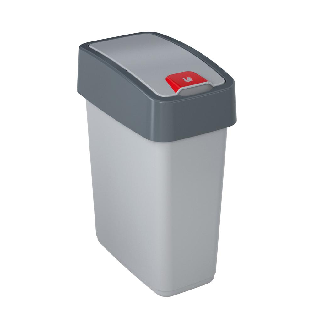 Kosz na śmieci z naciskaną pokrywą 10 l srebrny