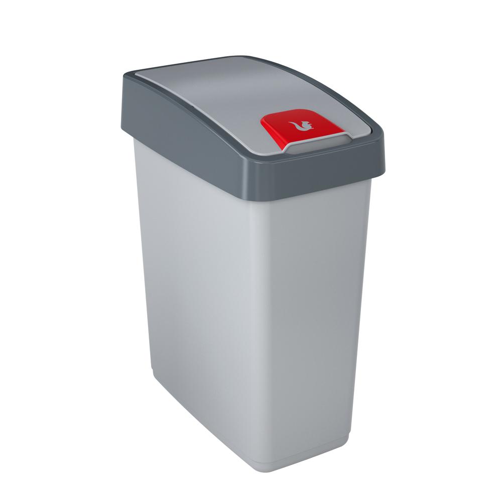 Kosz na śmieci z naciskaną pokrywą Keeeper srebrny 25 l