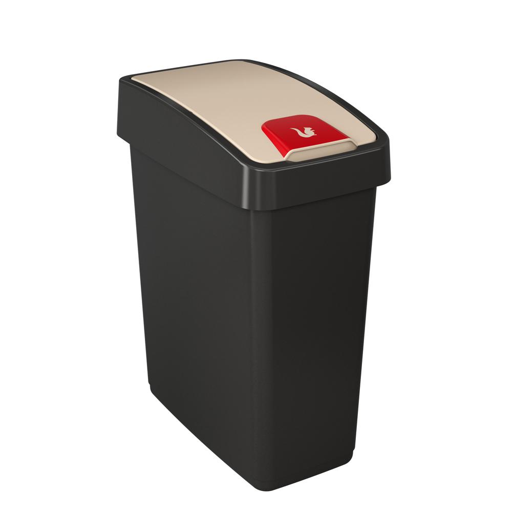 Kosz na śmieci z naciskaną pokrywą 25 l grafitowy
