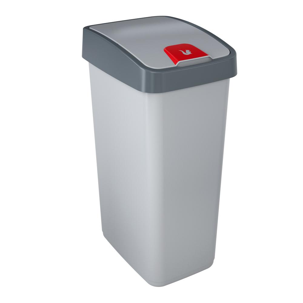 Kosz na śmieci z naciskaną pokrywą 45 l srebrny