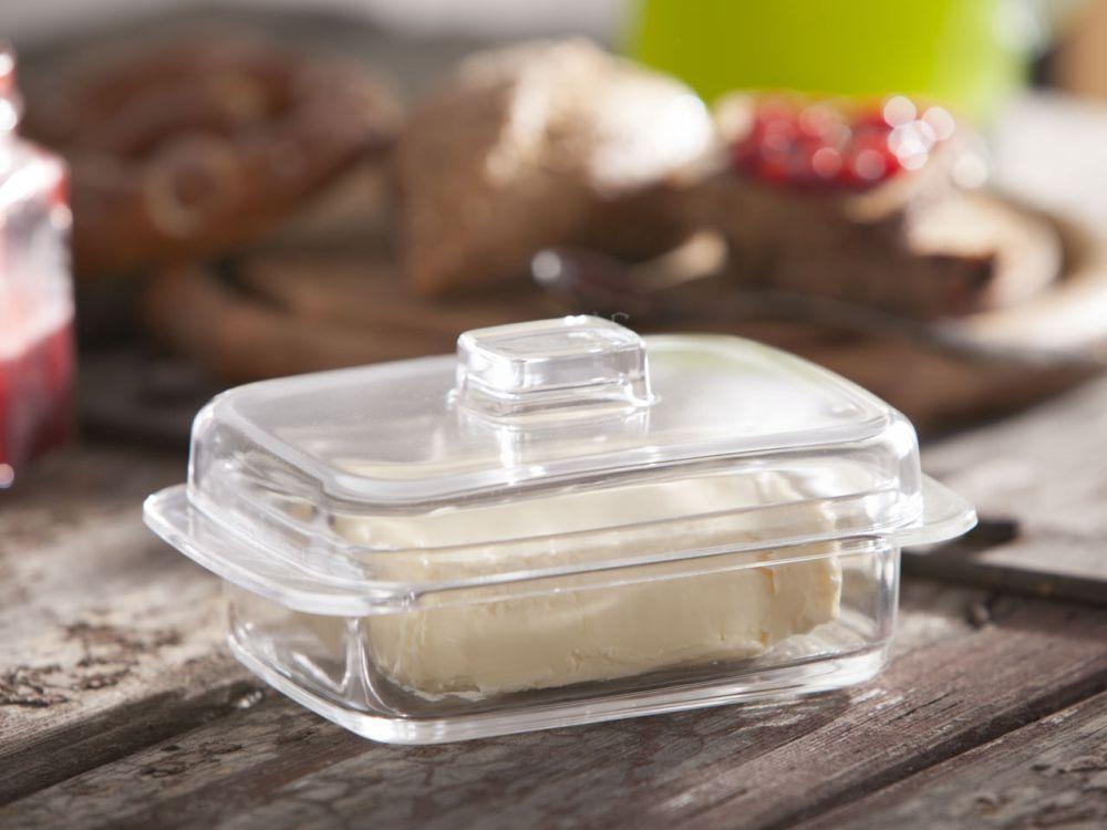Maselnica szklana z pokrywą / pojemnik na masło Huta Jasło
