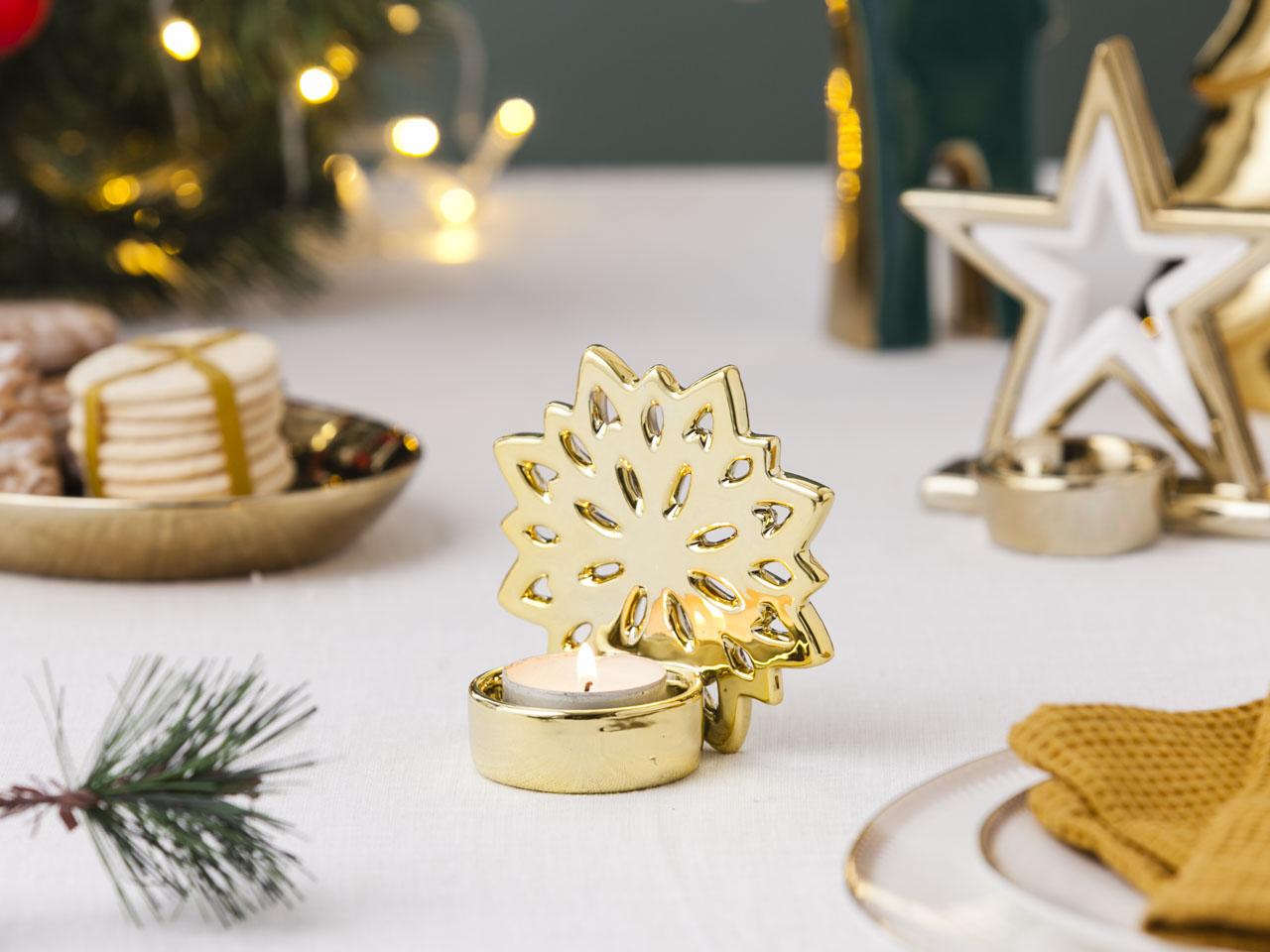 Świecznik / dekoracja świąteczna Boże Narodzenie Altom Design śnieżynka 10x6x9,5 cm