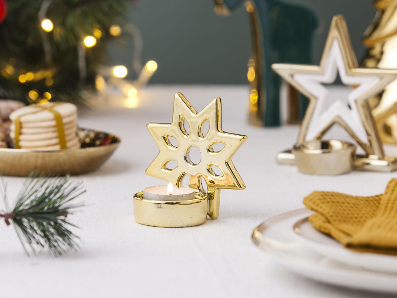 Świecznik / dekoracja świąteczna Boże Narodzenie Altom Design śnieżynka 9,5x6 cm