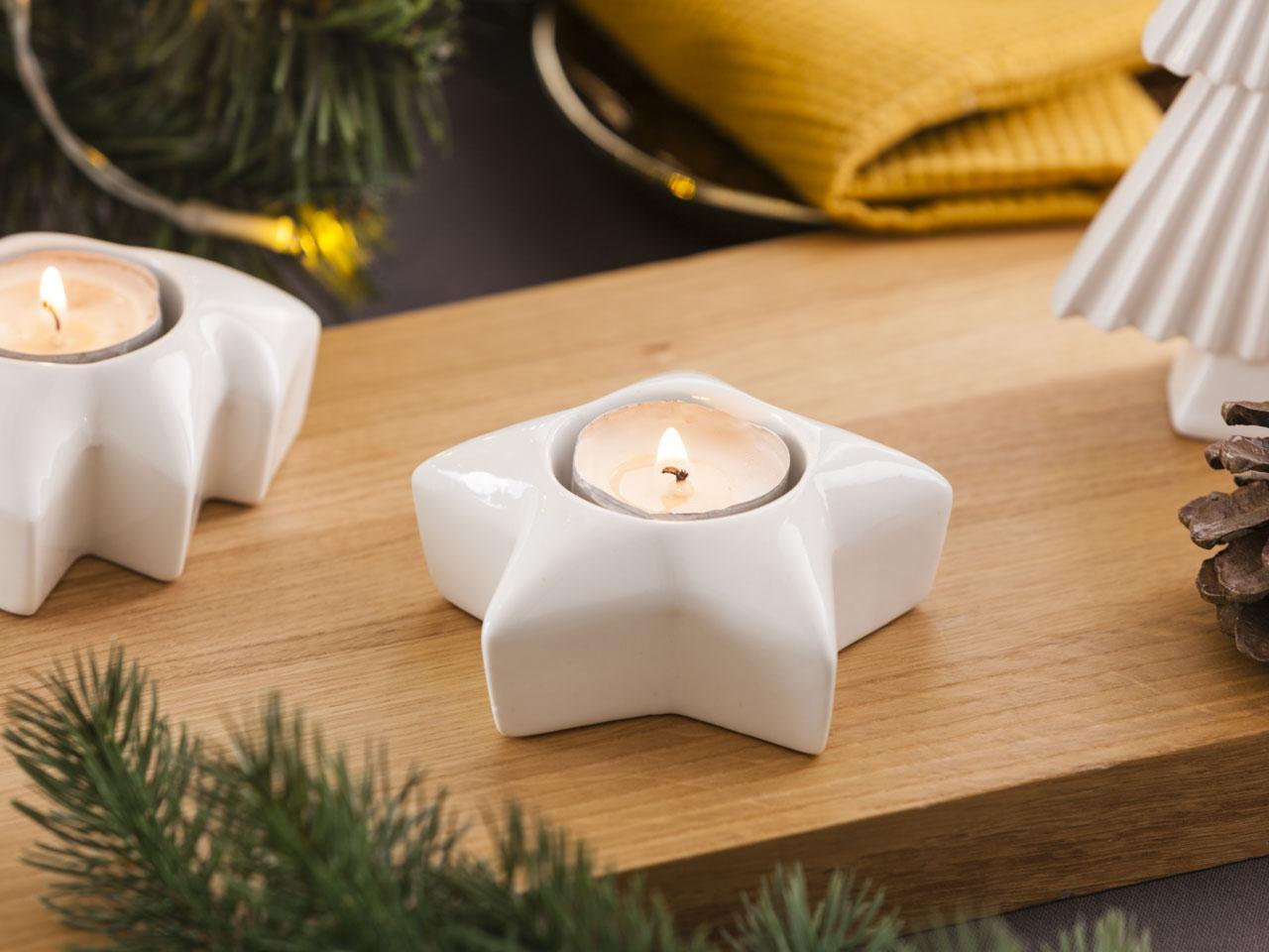Świecznik porcelanowy świąteczny Boże Narodzenie Altom Design choinka/gwiazdka 4x10 cm (2 sztuki)