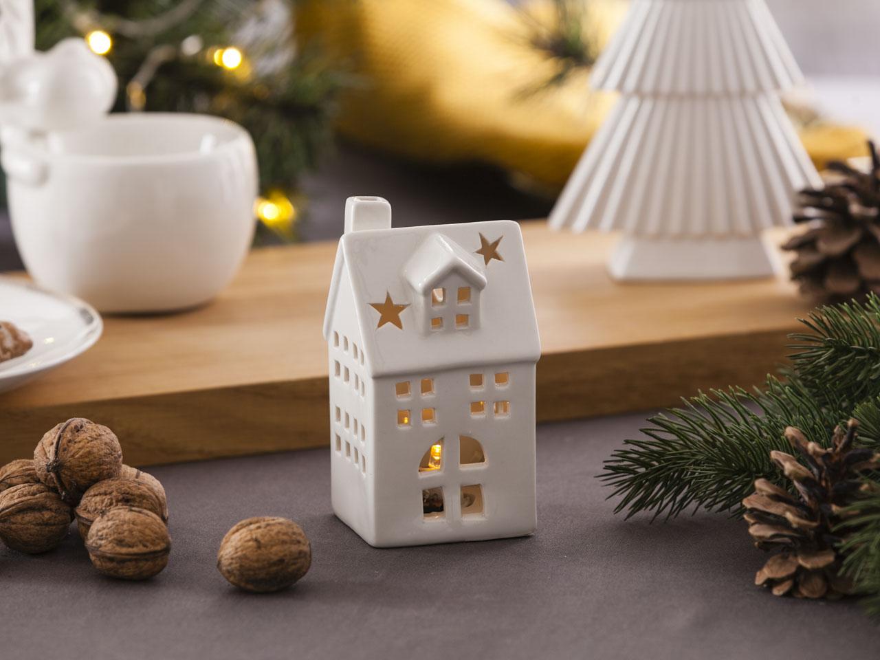 Domek porcelanowy z lampką LED / Lampion święta Boże Narodzenie Altom Design 6,5x6x12 cm