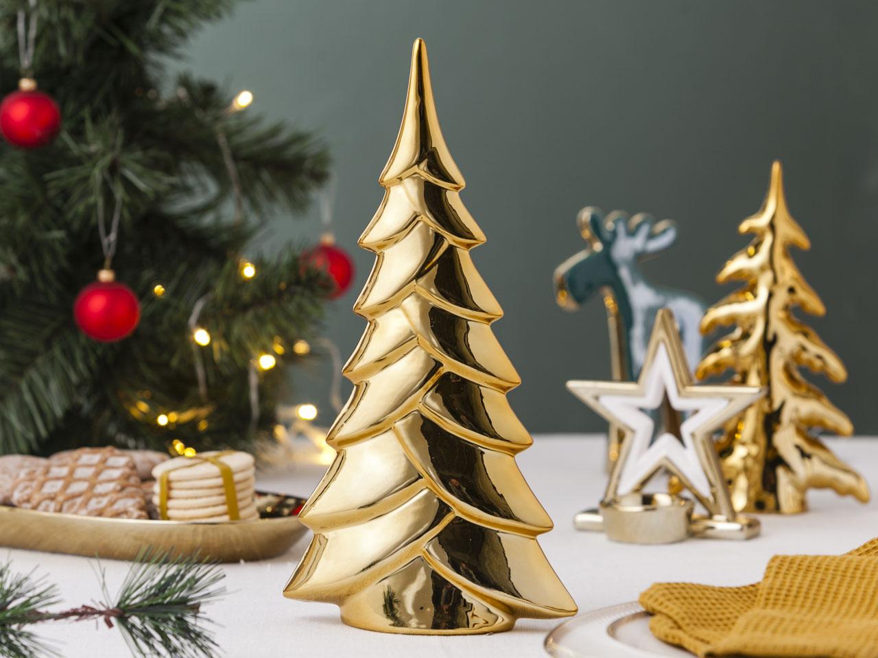 Ozdoba / figurka / dekoracja świąteczna Boże Narodzenie Altom Design choinka złota 15x6x30 cm