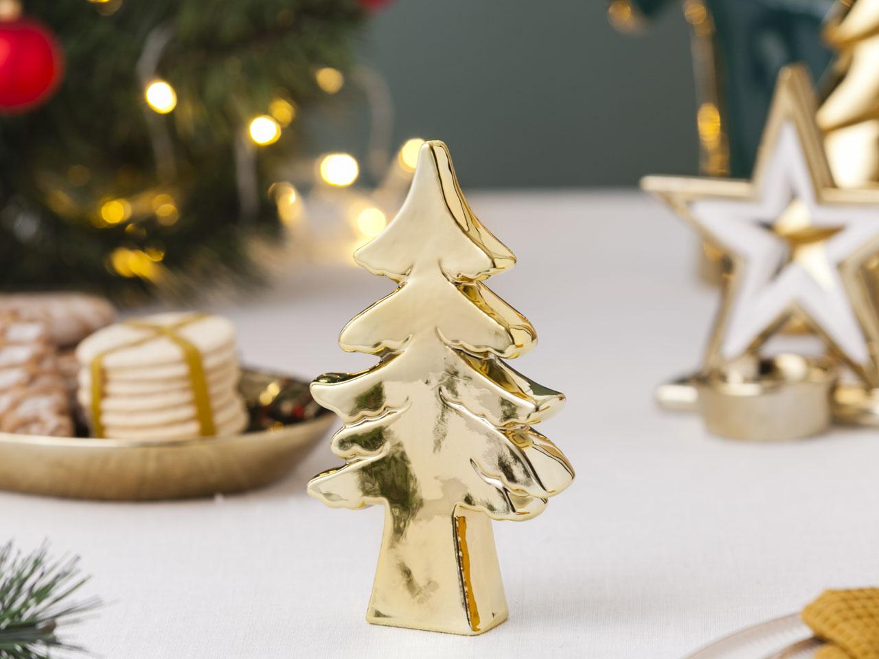 Ozdoba / figurka / dekoracja świąteczna Boże Narodzenie Altom Design choinka złota 9x3x16 cm
