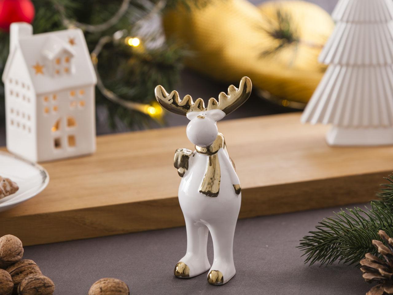 Ozdoba / figurka / dekoracja świąteczna Boże Narodzenie Altom Design renifer biały ze złotem stojący 8x5,5x16 cm