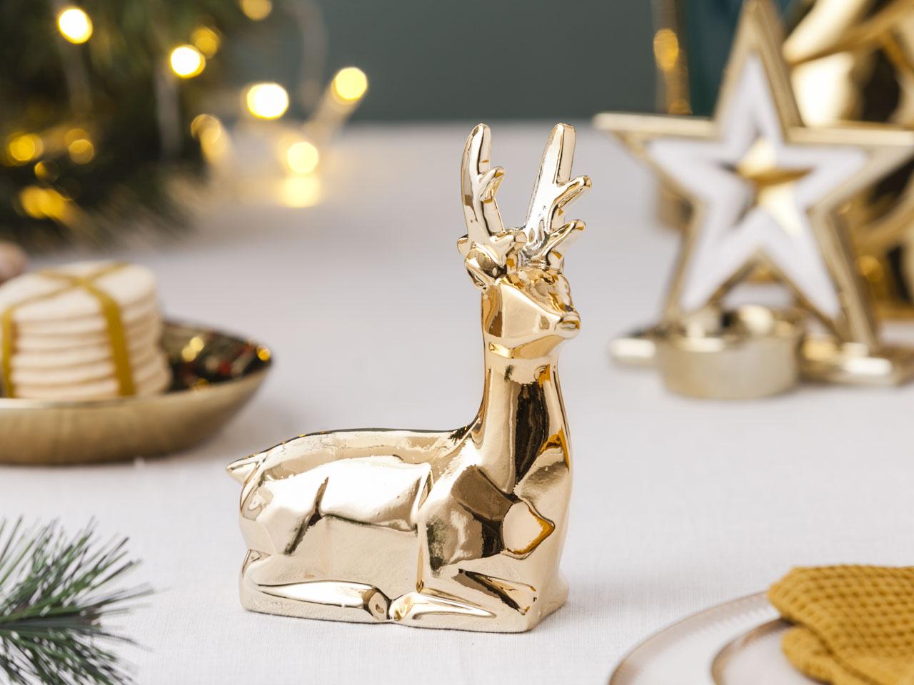 Ozdoba / figurka / dekoracja świąteczna Boże Narodzenie Altom Design Modern renifer siedzący złoty 11,5x5,5x15 cm