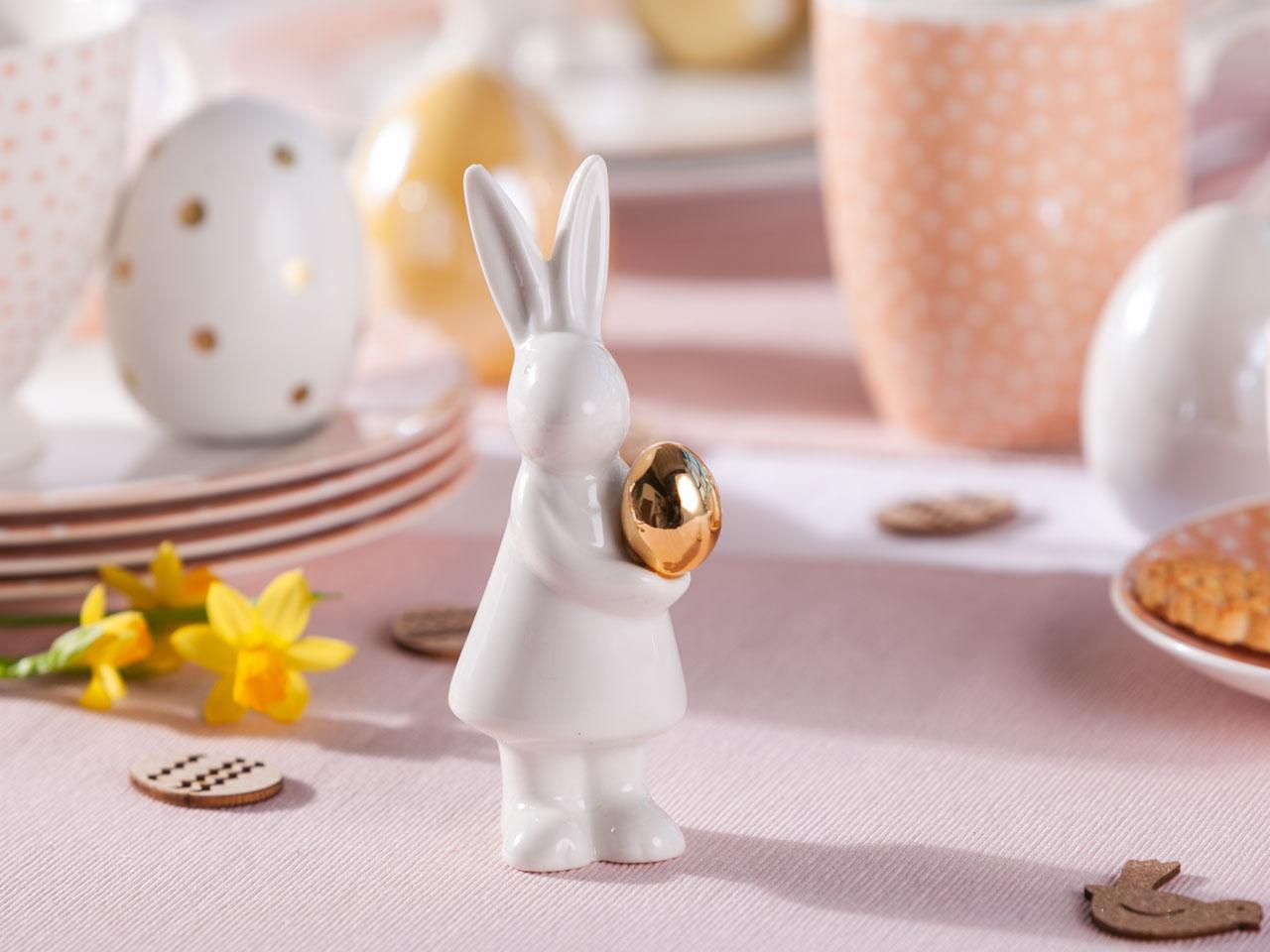 Figurka / ozdoba zając ze złotym jajkiem święta Wielkanoc Altom Design kropki 5x4x13 cm