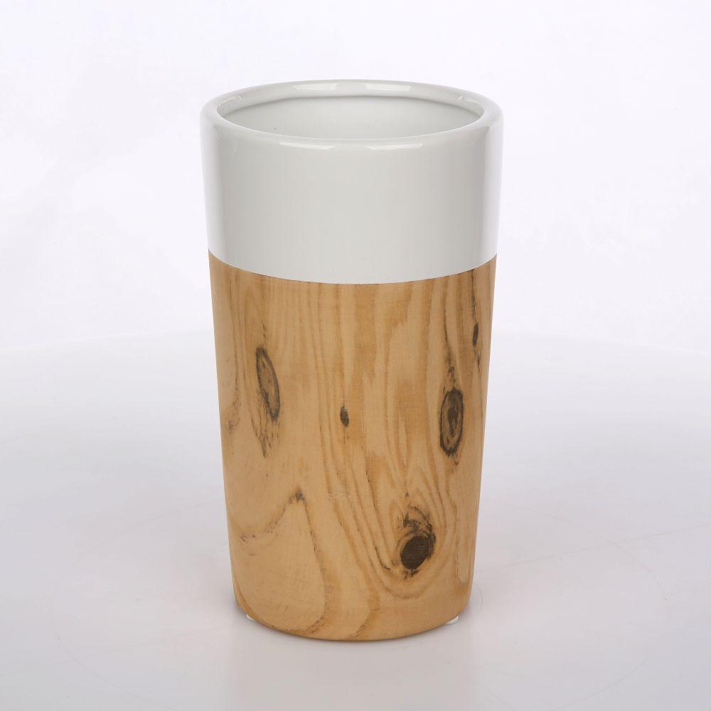 Wazon porcelanowy stożek Altom Design dekoracja Drewno 20,5 cm