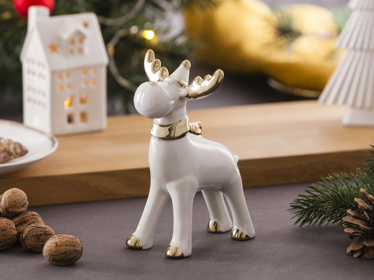 Ozdoba / figurka / dekoracja świąteczna Boże Narodzenie Altom Design Modern renifer biały ze złotem 12x6,5x16,5 cm