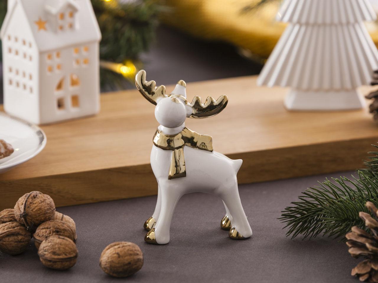 Ozdoba / figurka / dekoracja świąteczna Boże Narodzenie Altom Design Modern renifer biały ze złotem 8,5x7x12,5 cm