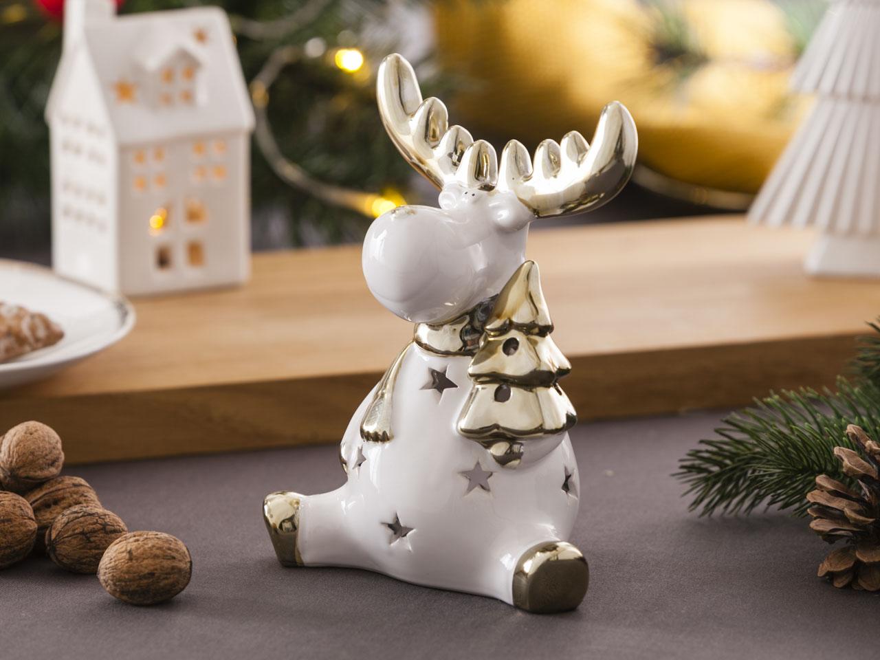 Ozdoba / figurka / dekoracja świąteczna Boże Narodzenie Altom Design Modern renifer biały ze złotem siedzący 13,5x8x17,5 cm
