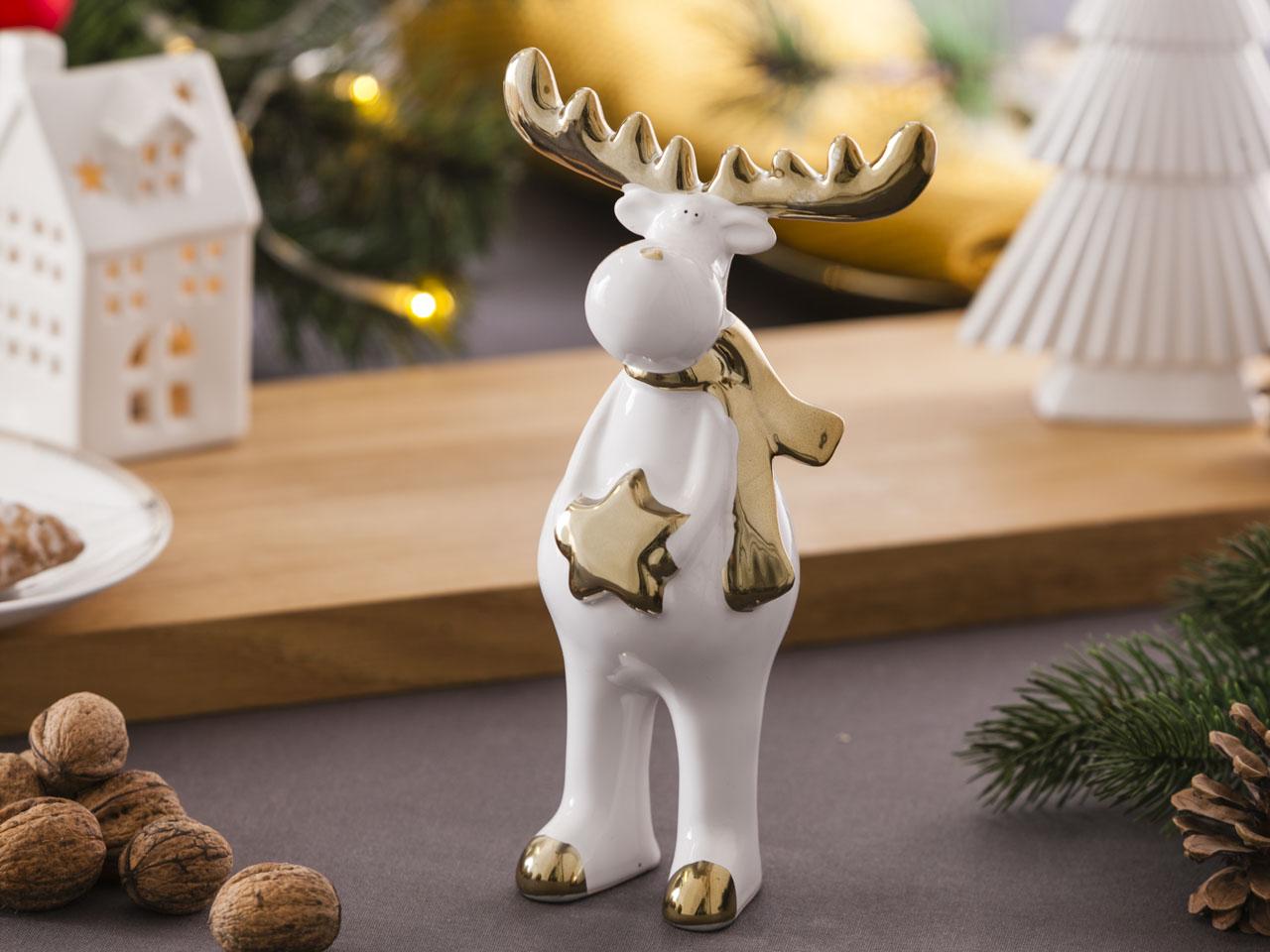 Ozdoba / figurka / dekoracja świąteczna Boże Narodzenie Altom Design Modern renifer biały ze złotem stojący 11,5x8x21 cm