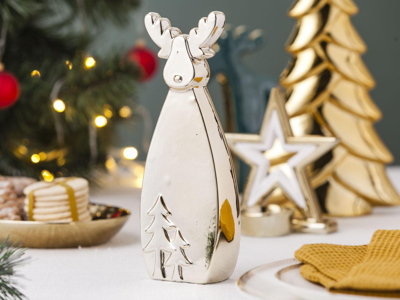 Ozdoba / figurka / dekoracja świąteczna Boże Narodzenie Altom Design Renifer złoty 8x4x21 cm