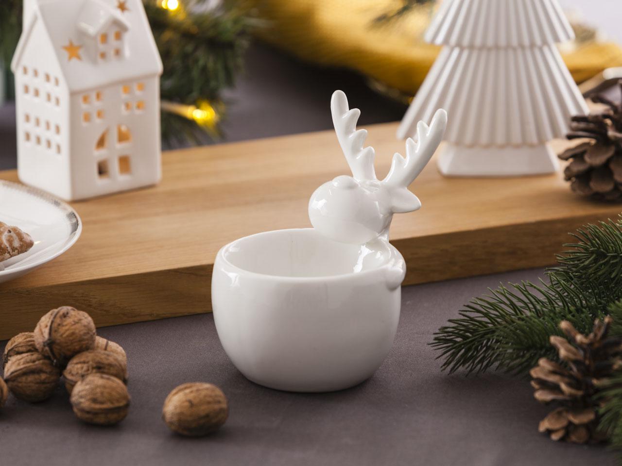 Świecznik / dekoracja świąteczna Boże Narodzenie Altom Design renifer biały 11x9,5x13 cm